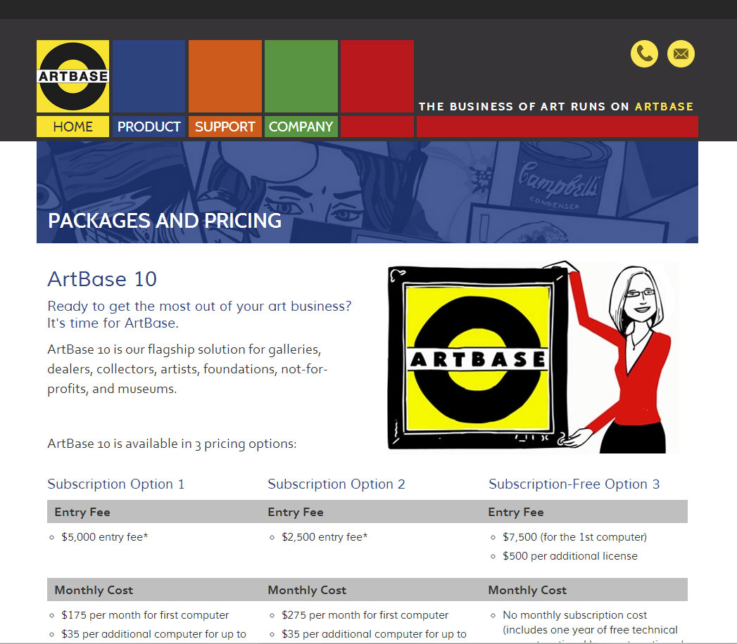 Packages and Pricing page